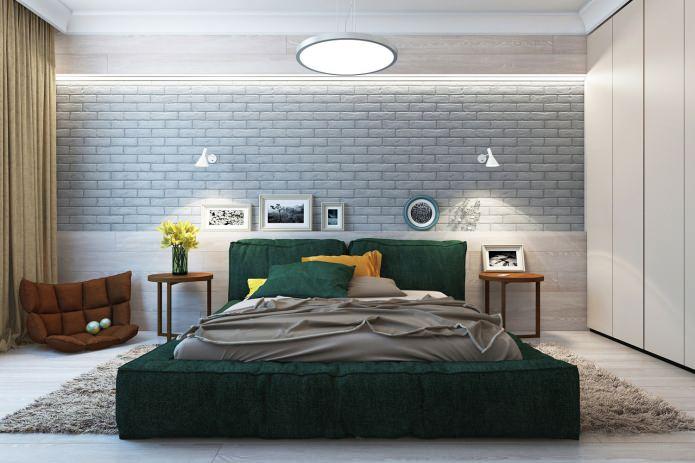 спальня в современной красивой квартире