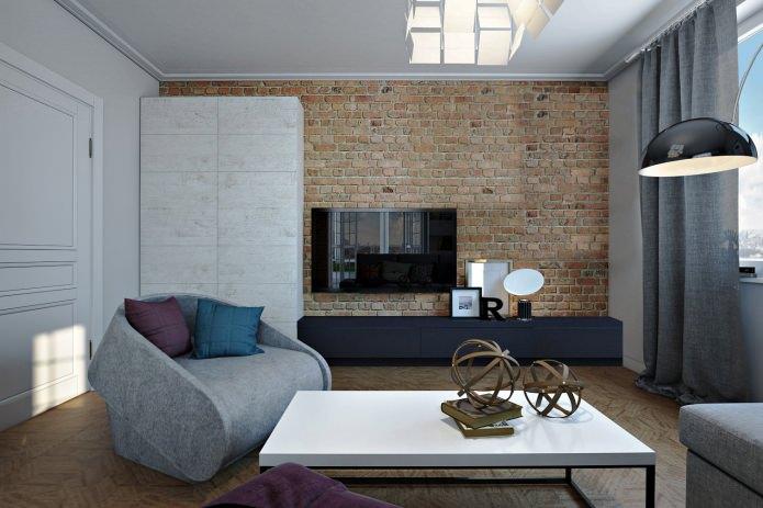 гостиная в интерьере 4-комнатной квартиры