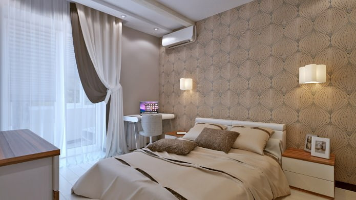 спальня в дизайн-проекте трехкомнатной квартиры
