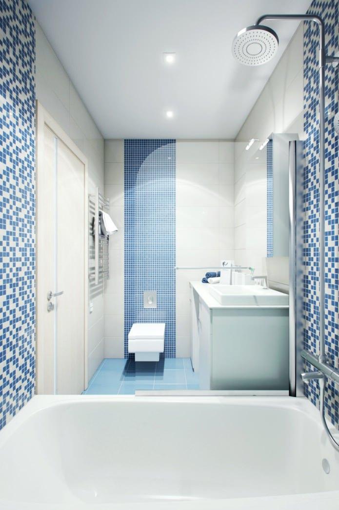 ванная в дизайне двухкомнатной квартиры в панельном доме