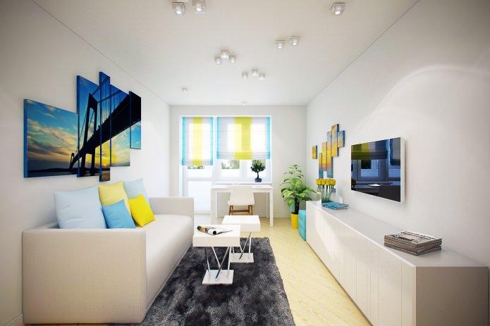 гостиная в интерьере квартиры 46 кв. м.