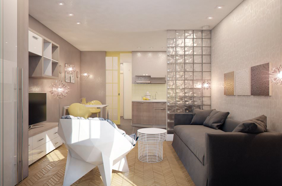 Интерьер дизайн маленькой квартир кухня студия фото 566