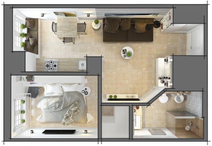 2 комнатная квартира малогабаритная дизайн