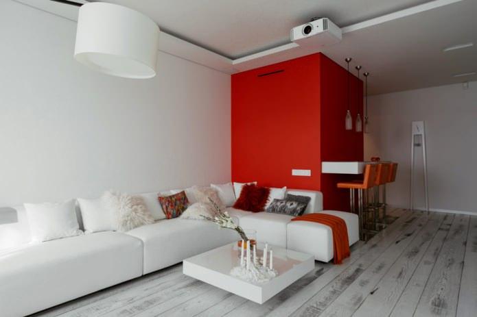Барная стойка в интерьере кухни-гостиной в бело-красных тонах