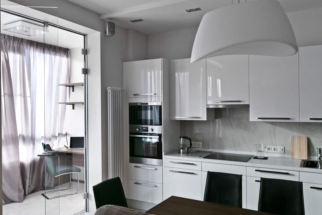 кухня-гостиная дизайн фото 26 кв.м