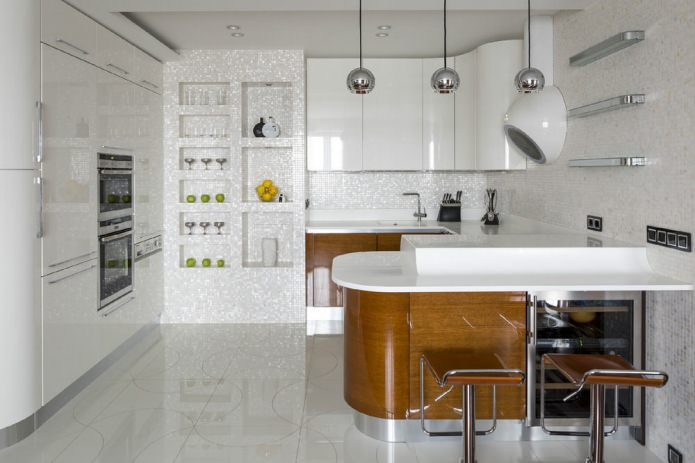 дизайн угловой кухни с барной стойкой с системой хранения
