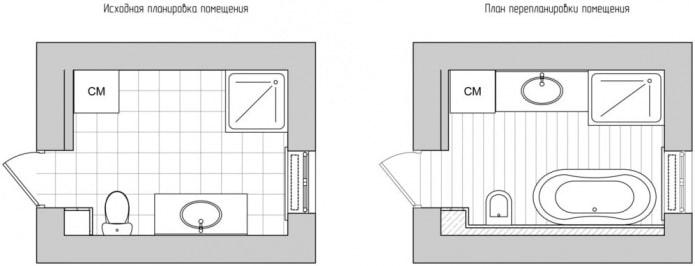 планировка ванной 8 кв. м.