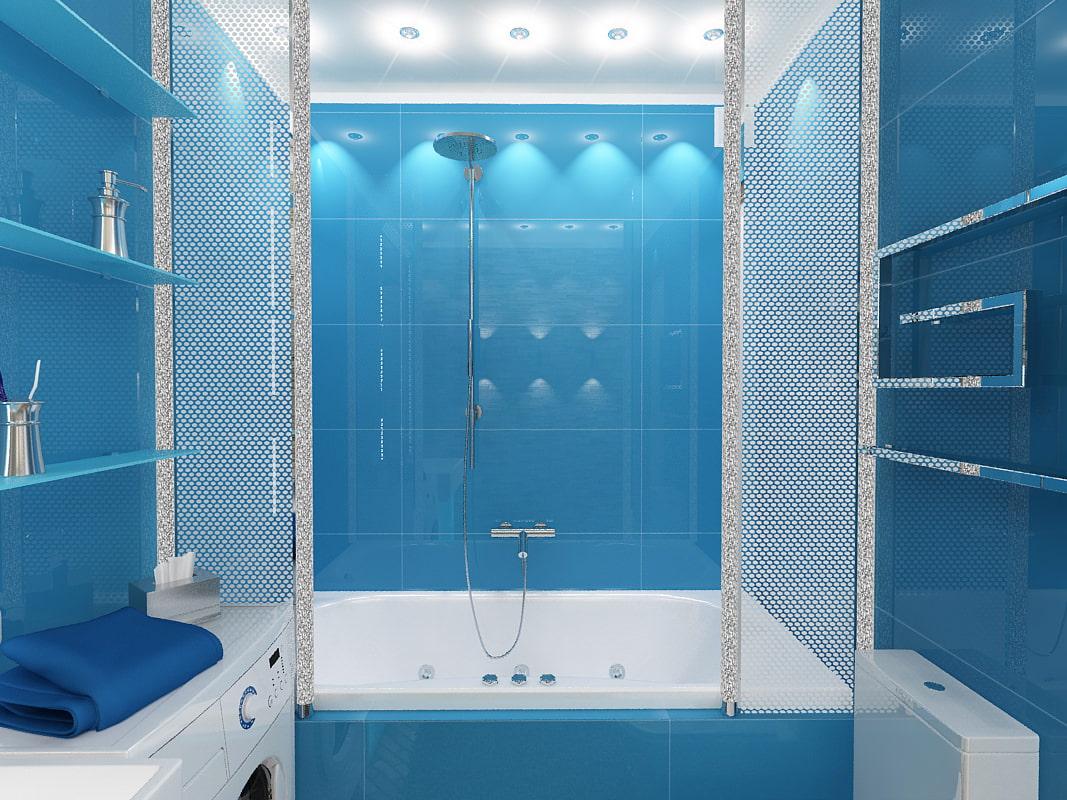 Дизайн ванн синего цвета