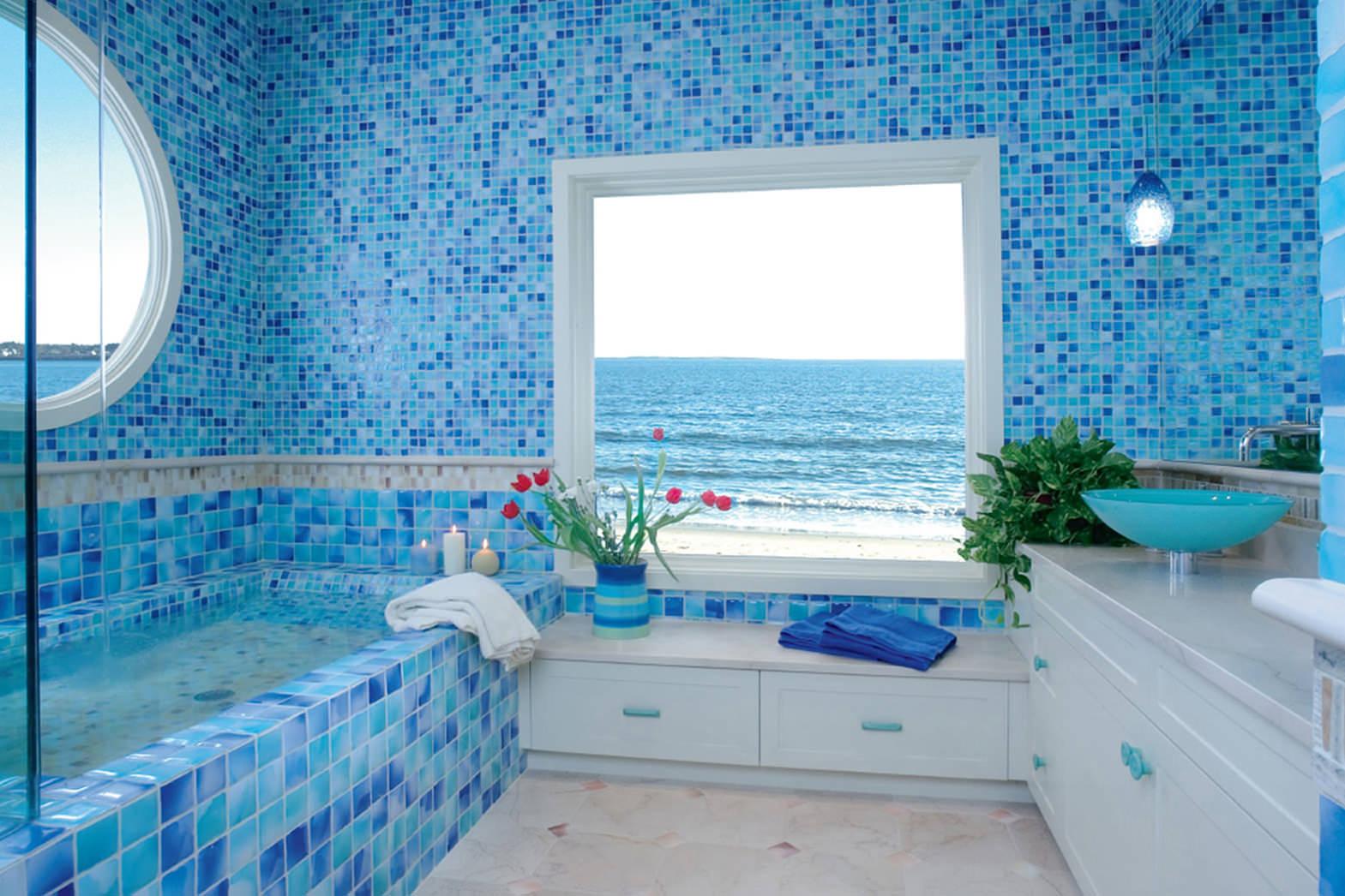 - Mosaico azzurro bagno ...