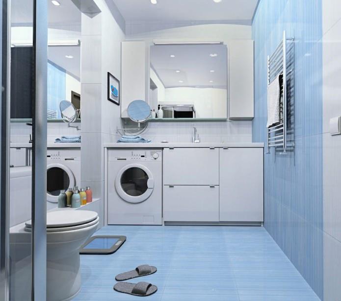 Дизайн ванной комнаты в голубых тонах