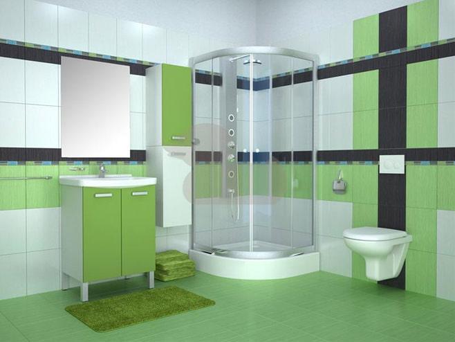 Дизайн ванной в зеленых тонах