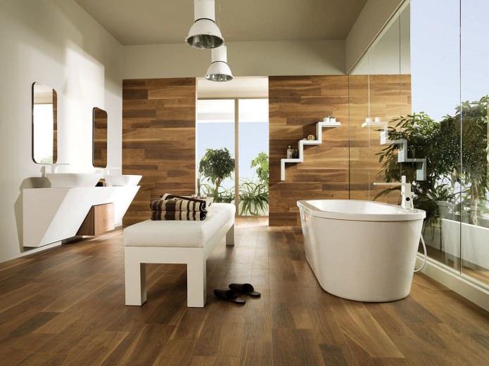 ванная в коричневых тонах