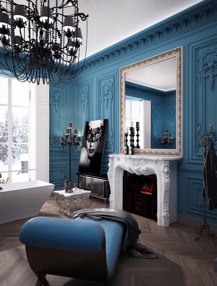 роскошная ванная комната с камином