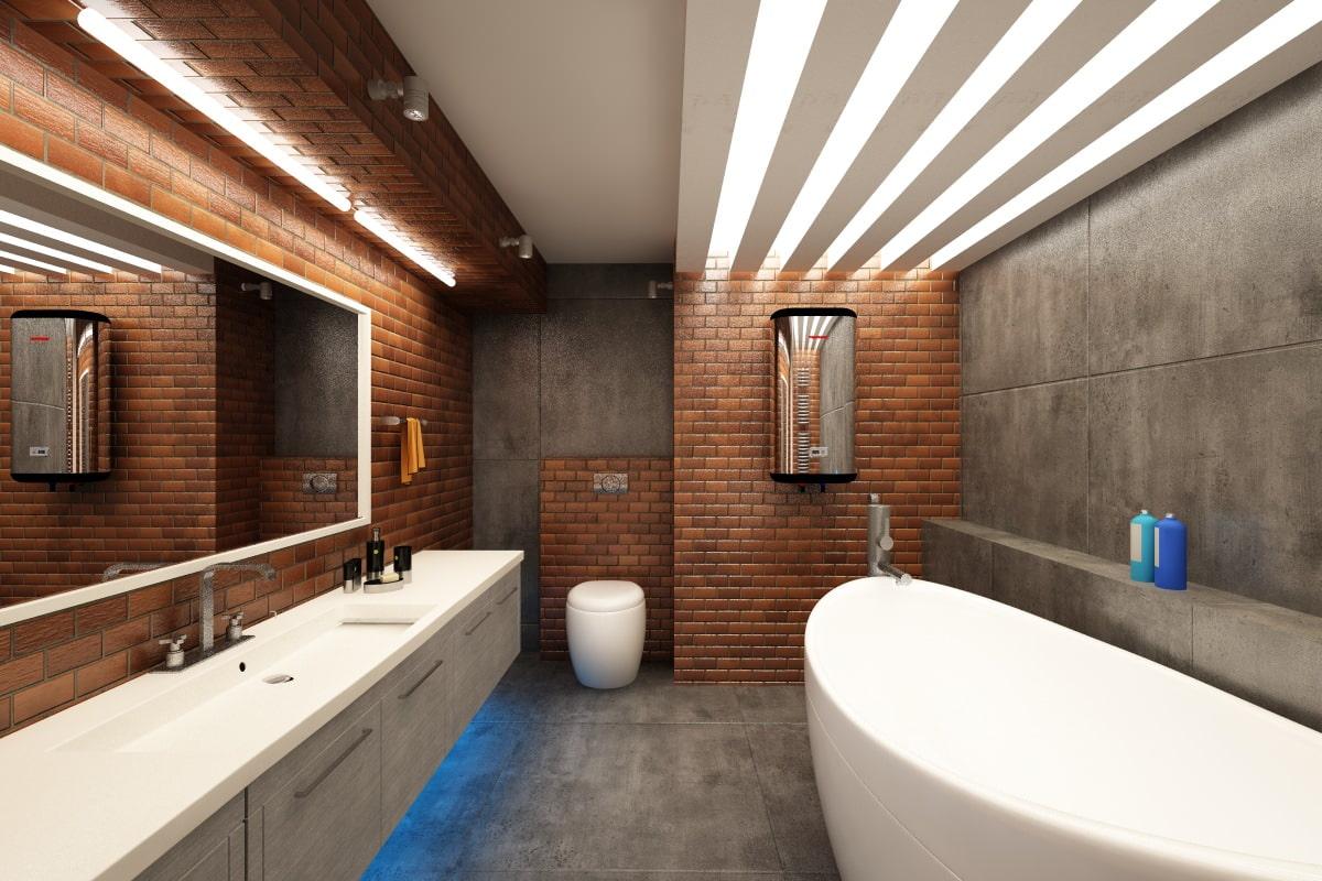 Лофт стиль в интерьере ванной