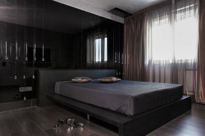 меблировка в интерьере спальни в черных тонах