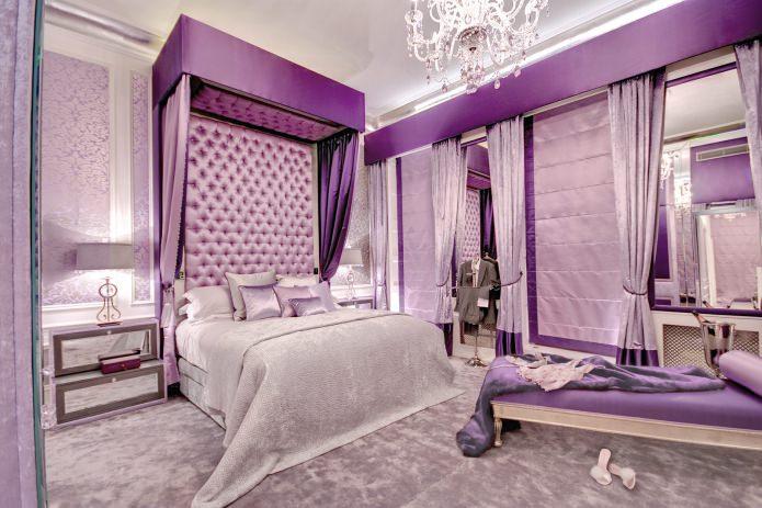 Сиренево-фиолетовый в интерьере роскошной спальни