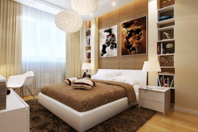 интерьер коричнево-бежевой спальни