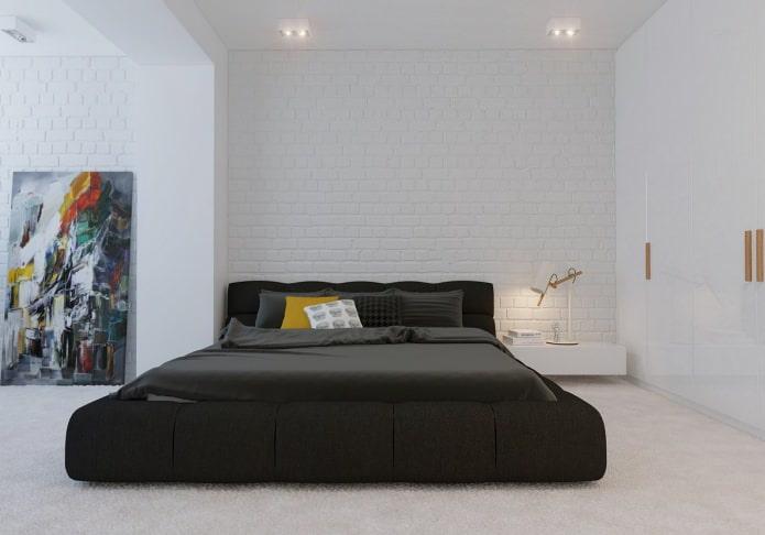 стена из кирпича белого цвета в спальне