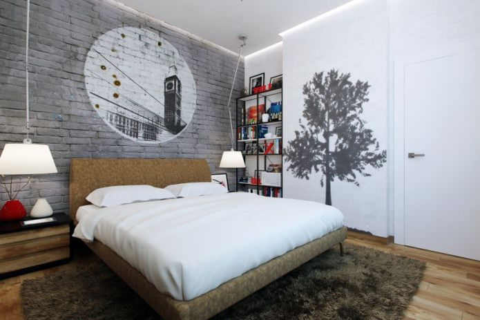 серый кирпич в интерьере спальни