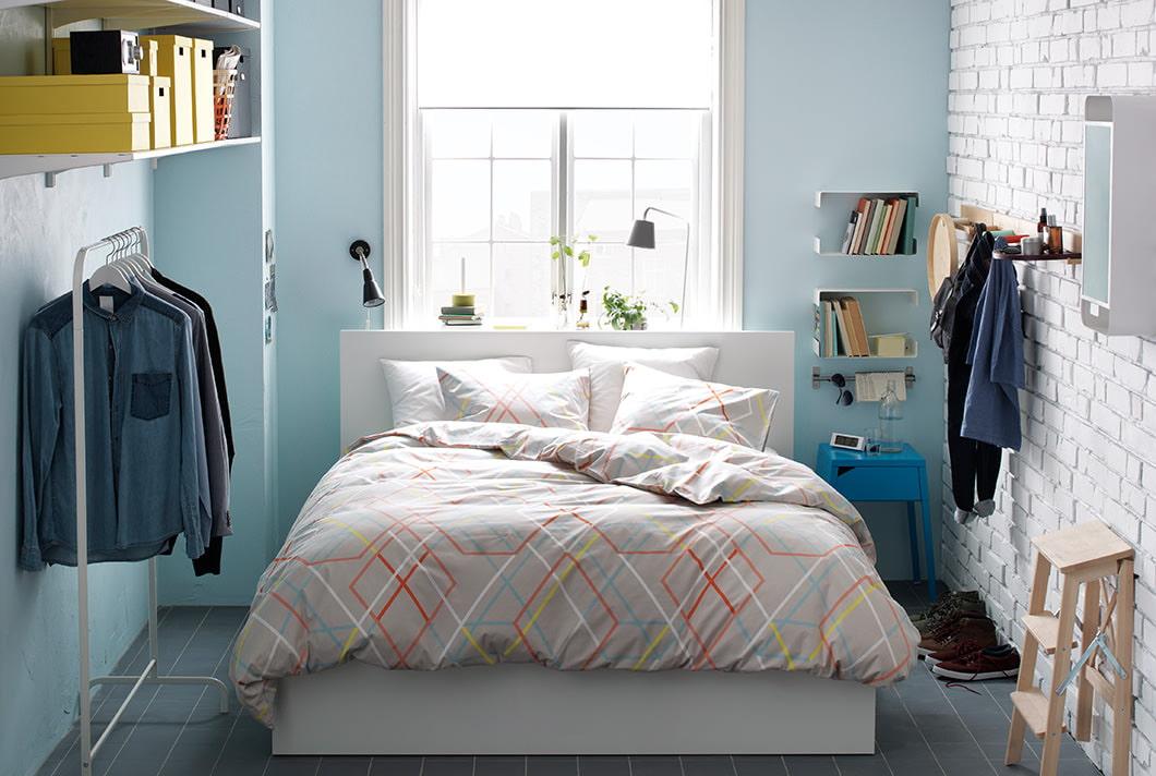 фото кирпичная стена в спальне