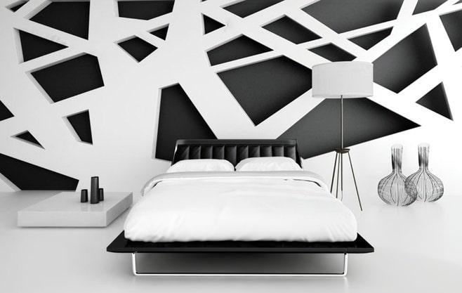 чёрно-белый интерьер спальни фото