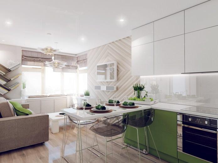 Как устроить кухню-гостиную, две спальни и гардеробную на 44 метрах?