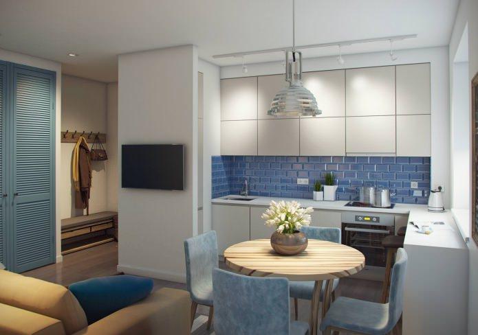 Современный дизайн двухкомнатной квартиры 52 метра для семьи с двумя детьми