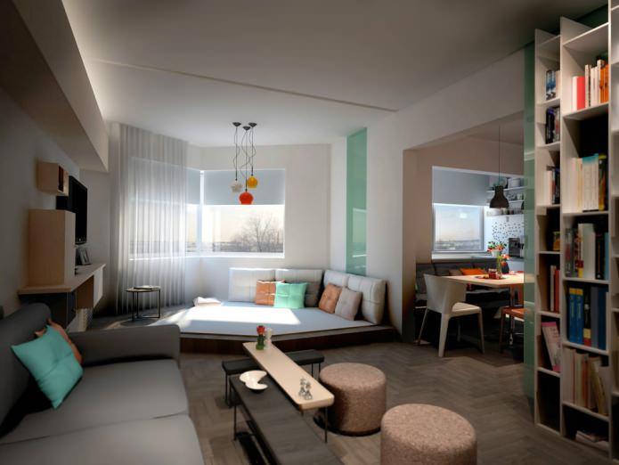 Дизайн однокомнатной квартиры в доме серии П-44