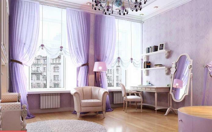 Лавандовый интерьер: сочетание, выбор стиля, отделки, мебели, штор и аксессуаров