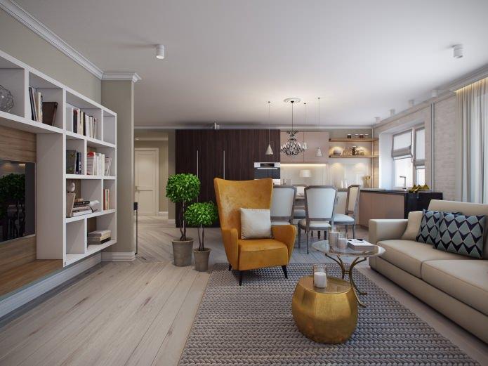 Проект дизайна трехкомнатной квартиры 80 кв. м.