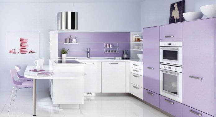 Дизайн кухни в сиреневых тонах: особенности, фото