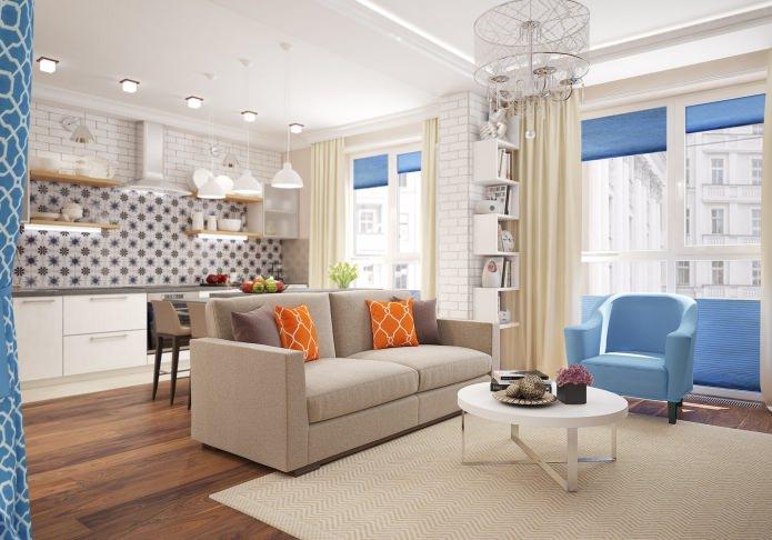 Дизайн квартиры-студии 46 кв. м. с спальней в нише