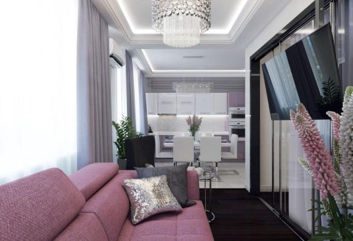 Дизайн квартиры 46 кв. м. с изолированной спальней