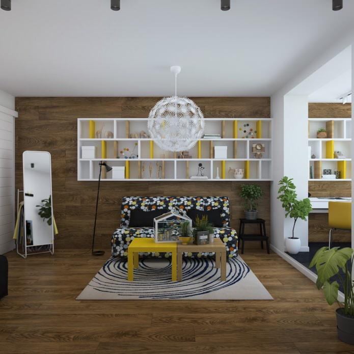 Дизайн однокомнатной квартиры с лоджией: 3D проект от Юлии Черновой