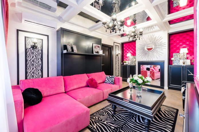 Дизайн гостиной в розовых тонах: 50 фото примеров