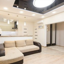 Натяжные потолки в гостиной: виды, дизайн, освещение, 60 фото в интерьере-3