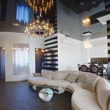 Натяжные потолки в гостиной: виды, дизайн, освещение, 60 фото в интерьере-2