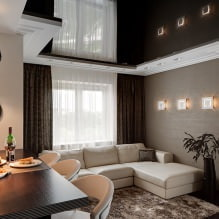 Натяжные потолки в гостиной: виды, дизайн, освещение, 60 фото в интерьере-6