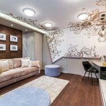 Натяжные потолки в гостиной: виды, дизайн, освещение, 60 фото в интерьере-0
