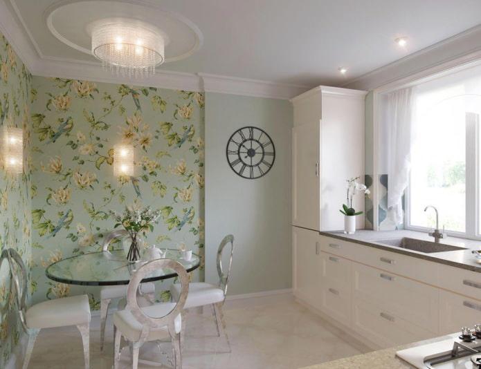 Дизайн кухни с зелеными обоями: 55 современных фото в интерьере