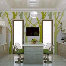 Дизайн кухни с зелеными обоями: 55 современных фото в интерьере - 43