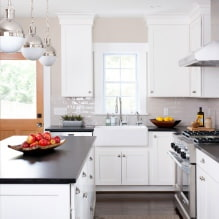 Дизайн белой кухни с черной столешницей: 80 лучших идей, фото в интерьере - 65