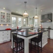 Дизайн белой кухни с черной столешницей: 80 лучших идей, фото в интерьере - 55
