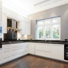 Дизайн белой кухни с черной столешницей: 80 лучших идей, фото в интерьере - 75