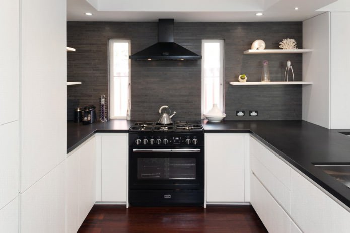 Дизайн белой кухни с черной столешницей: 80 лучших идей, фото в интерьере