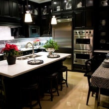 Черный гарнитур в интерьере в кухне: дизайн, выбор обоев, 90 фото - 74