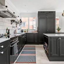 Черный гарнитур в интерьере в кухне: дизайн, выбор обоев, 90 фото - 75