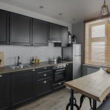 Черный гарнитур в интерьере в кухне: дизайн, выбор обоев, 90 фото - 76