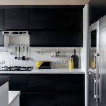 Черный гарнитур в интерьере в кухне: дизайн, выбор обоев, 90 фото - 71