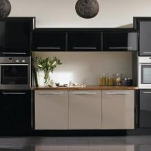 Черный гарнитур в интерьере в кухне: дизайн, выбор обоев, 90 фото - 90